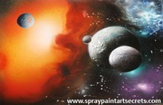 Spray painting tutorials to paint an amazing space scene